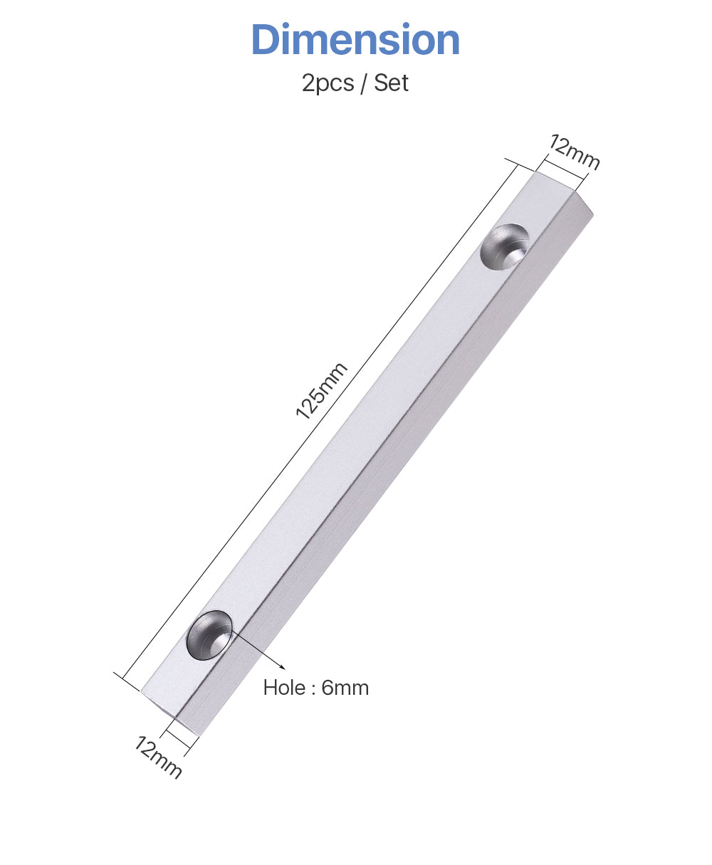Aluminum Positioning Bar 125*12mm 2pcs
