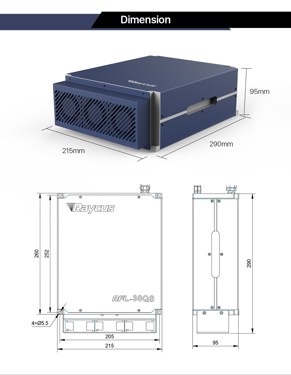 Raycus 20W-30W Q-switched Pulse Fiber Laser Source RFL-P20/30QS for 1064nm Laser Marking Machine