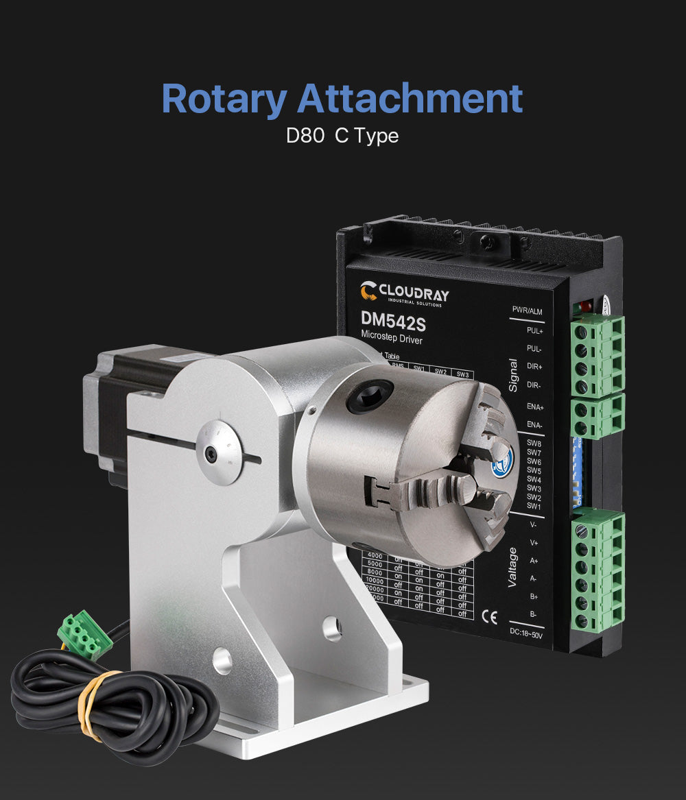 Rotary Attachment Diameter 80mm for Fiber Marking Machine