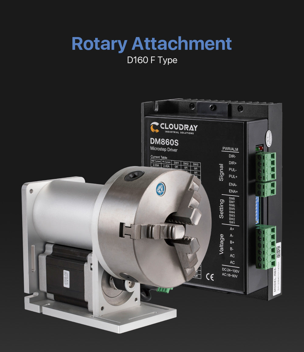 Rotary Attachment Diameter160mm Nema34 Motor and Driver for Cuboid Objects Circular Fiber Marking Machine