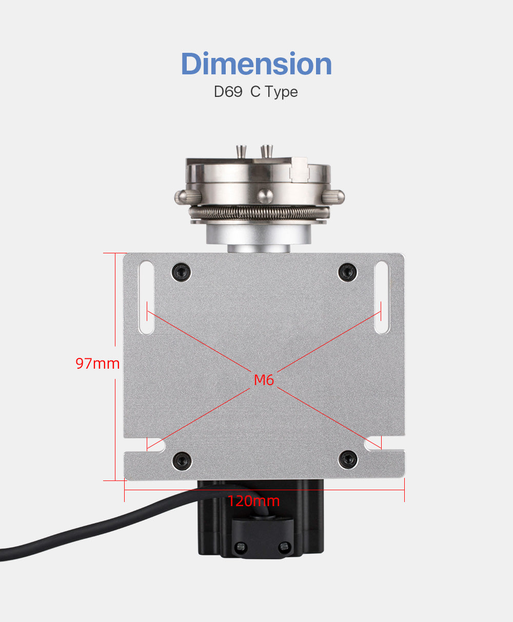 Rotary Attachment Diameter 69mm with Nema23 Motor DM542S Driver for Cuboid Objects Circular Machine