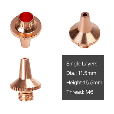 Cloudray (B Type 3D M6 Cutting Nozzles) Single Layer  D11.5 H15.5 M6 Caliber 1.0-2.0mm