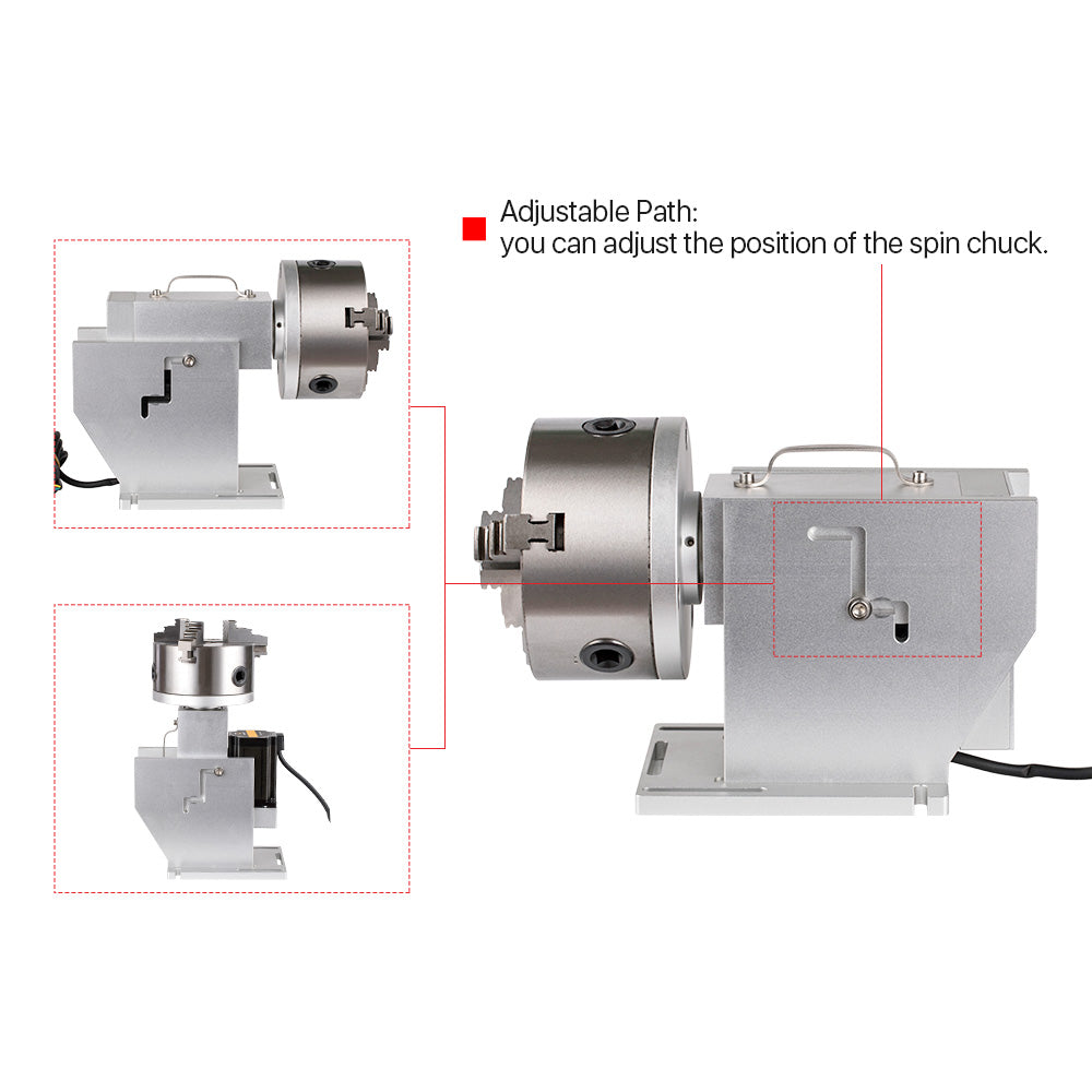 Cloudray Rotary Attachment Diameter160mm Nema34 Motor and Driver for Cuboid Objects Circular Fiber Marking Machine