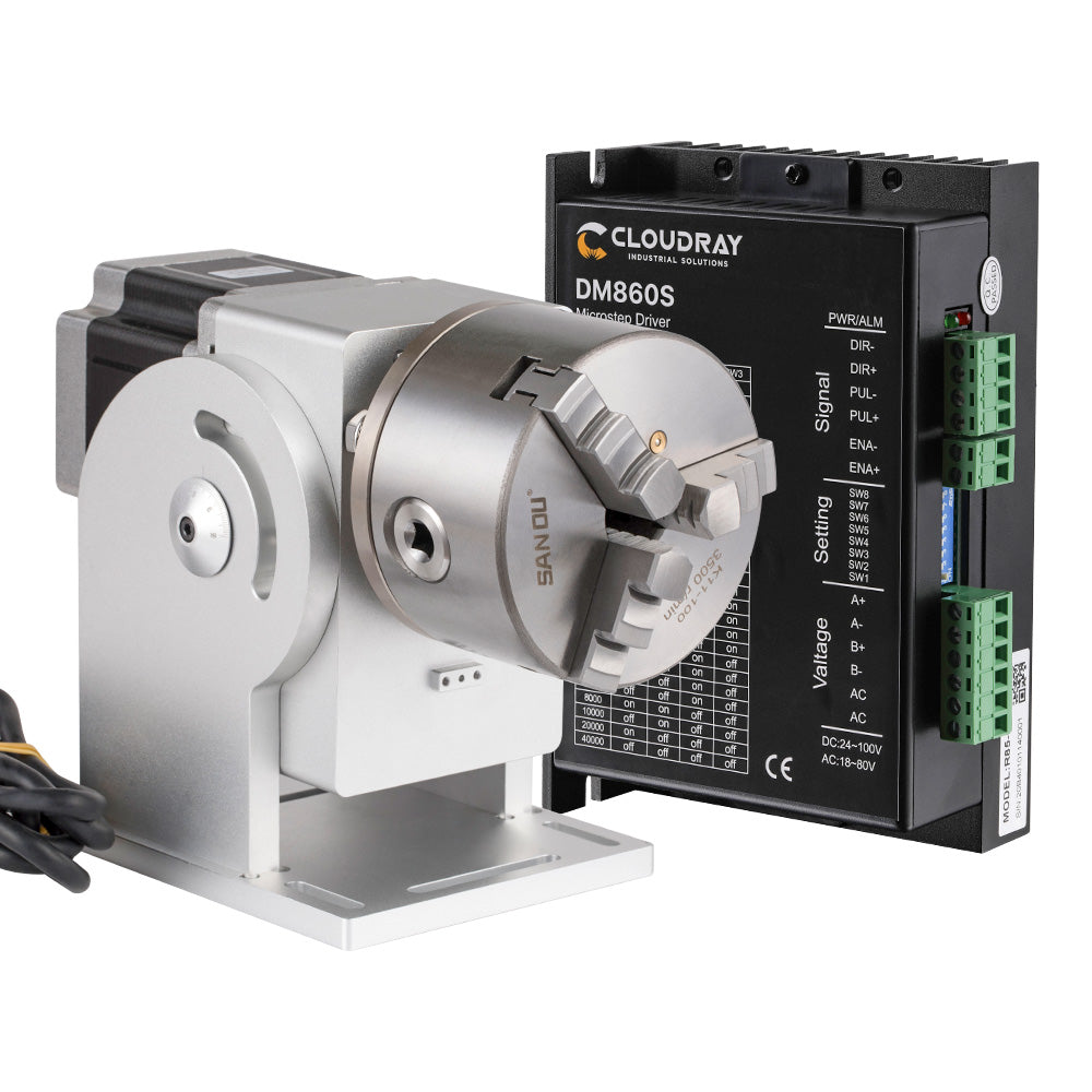 Cloudray Rotary Attachment Diameter 69mm with DM542S Driver for Fiber Laser Marking Machine or Co2 Engraving Machine