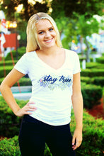 """Stay True"" Burnout V Neck Tee"