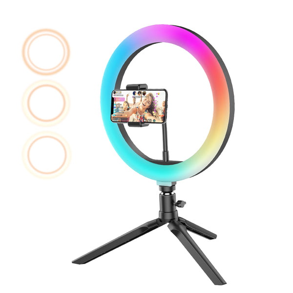 BlitzWolf BW-SL5 10inch RGB LED Ring Light Dimmable Selfie Ring Lamp for YouTube Tiktok Live Stream Makeup With Tripod Phone Holder