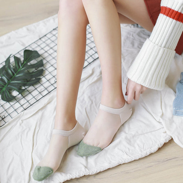 Women Crystal Glass Silk Socks Summer Thin Breathable Transparent Ankle Socks