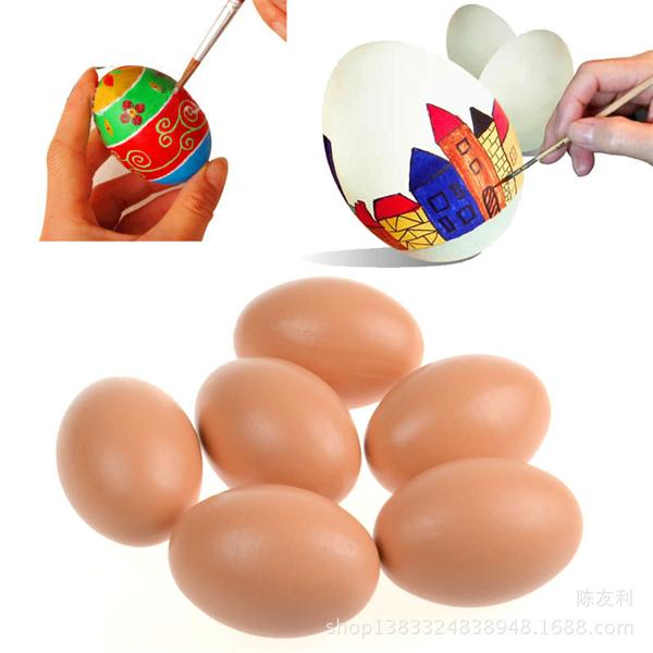 Children Handicraft Painted Eggshell Drawing DIY Solid Wood Christmas Santa Easter Simulation Model