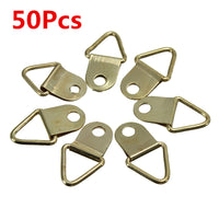 50Pcs Copper Triangle Photo Picture Frame Wall Mount Hook Hanger Ring