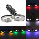 Chrome LED Light Lamp Wind Shield Jet Spray Nozzle Wiper Washer Eyes