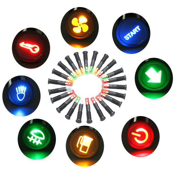 12/24/36V 10MM LED Dashboard Warning Signal Light Van Dash Panel Indicator Lamp