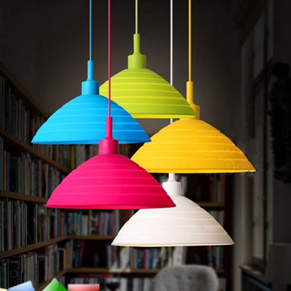 E27/E26 Pendant Lamp Holder Colorful Silicone Folding Lampshade Ceiling Light Socket AC 110-240V