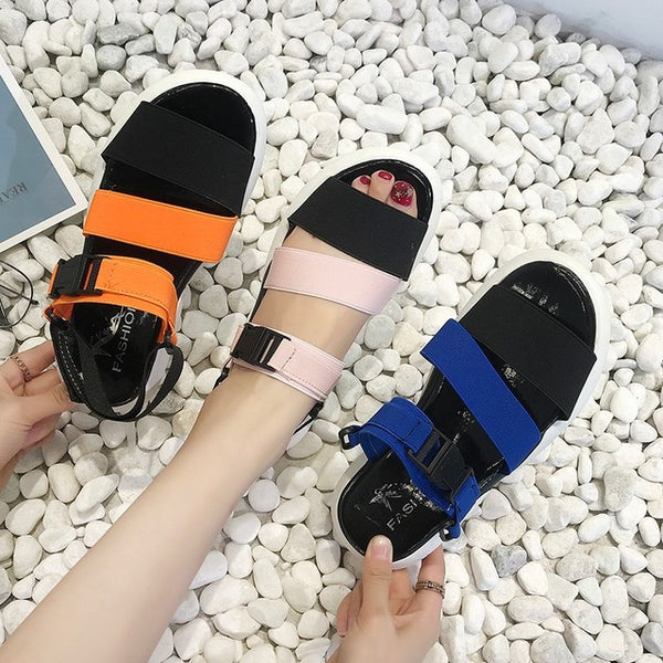 Season New Fashion Fish Mouth Sandals Female Sponge Cake Thick Elastic Band Flat Bottom Sports Sandals Trend