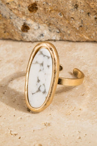 Natural Stone Oval Ring -Howlite White