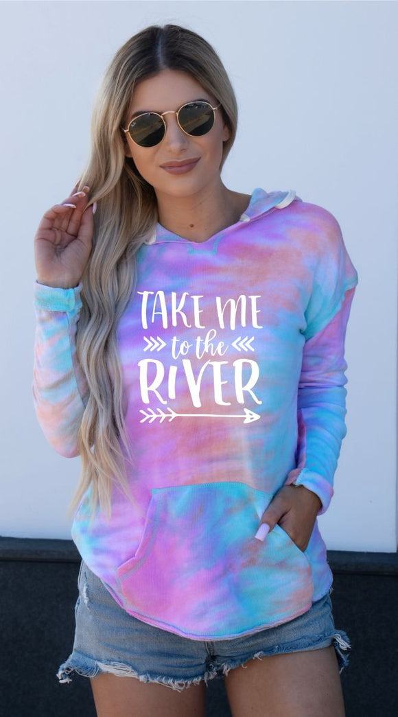 Take Me To The River Tie Dye Light Weight Hoodie