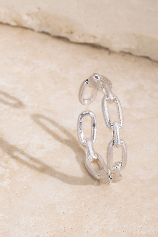 Satin Chain Link Ring- Silver