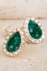 Pave Glass Stone CZ Studs - Emerald