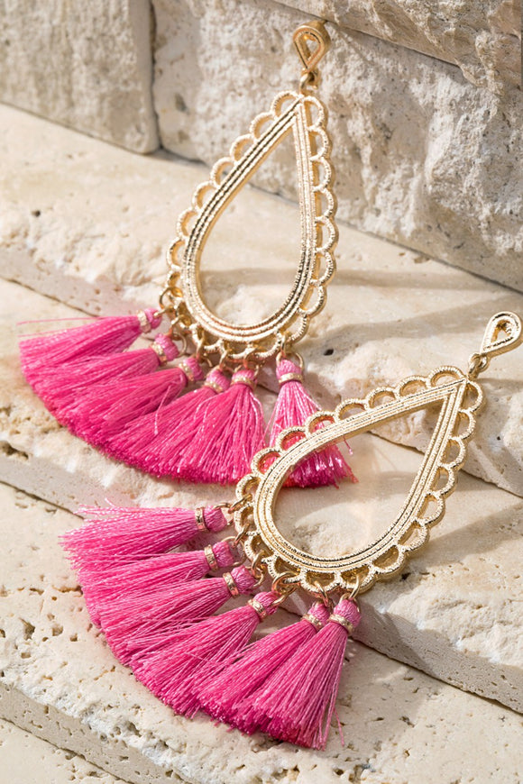 Tear Drop Tassel Earrings- Pink