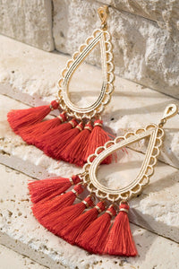 Tear Drop Tassel Earrings- Red