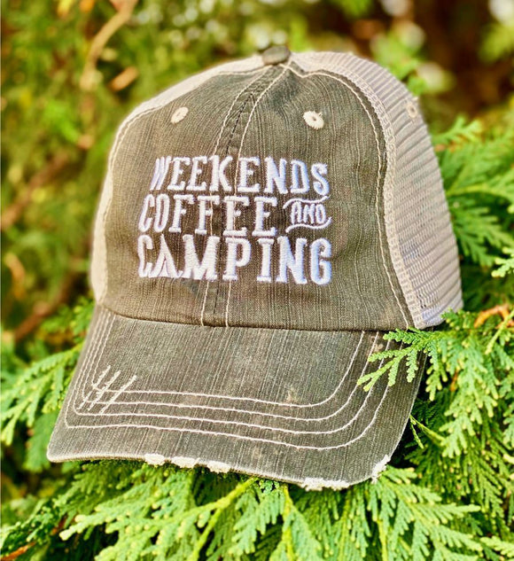 Weekends Coffee and Camping Trucker Hat