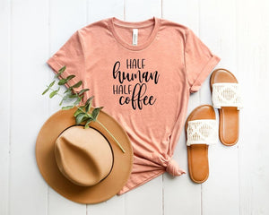 Half Human Half Coffee Graphic Tee (Classic & Plus Size)