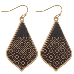 Wooden Flilgree Earrings- Black