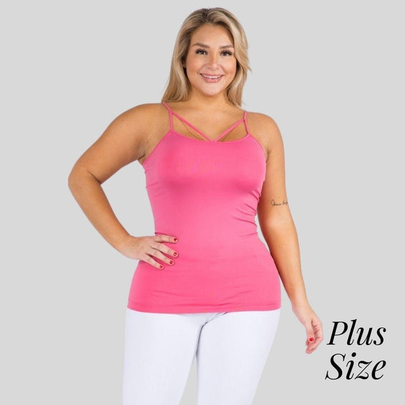 Seamless Criss Cross Camisole- Hot Pink Plus Size