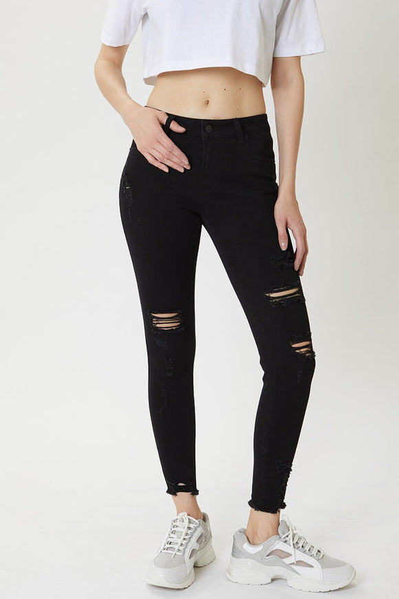 Mid Rise Distressed Ankle Skinny- Black