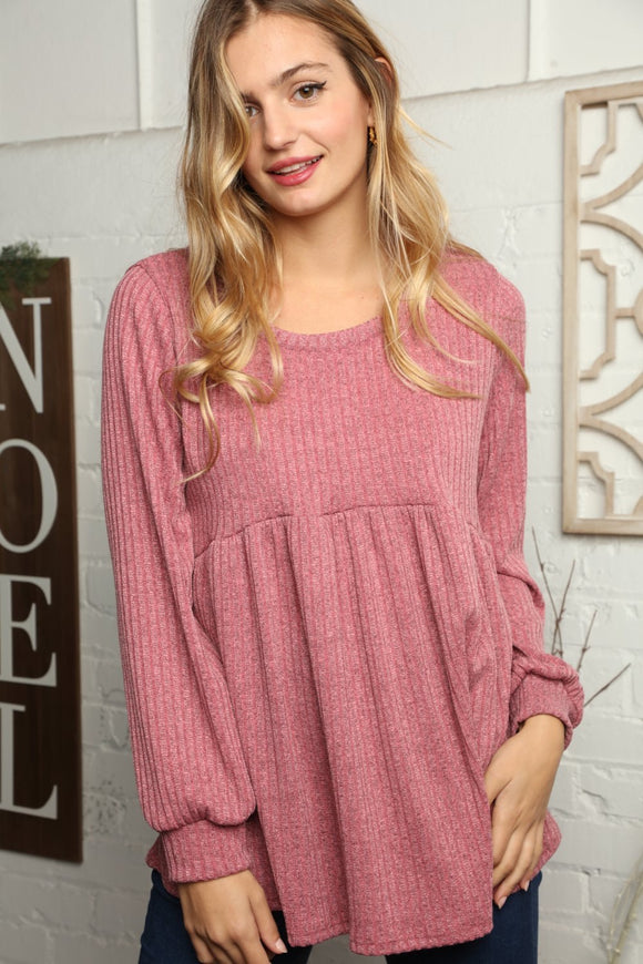 Mauve Ribbed Babydoll Bubble Sleeve Blouse (Classic and Plus)