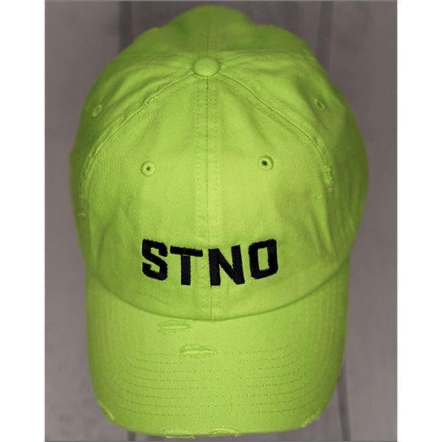 Distressed Dad Hat-Lime/Black