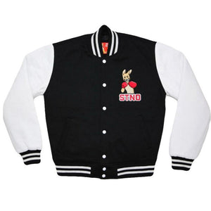 Fleece Varsity Jacket-Black