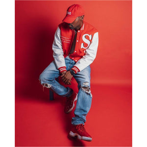 Red Wool Varsity Jacket