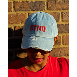 Distressed Dad Hat-Denim/Red