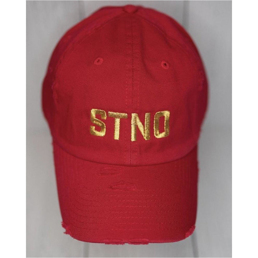 Distressed Dad Hat-Red/Gold