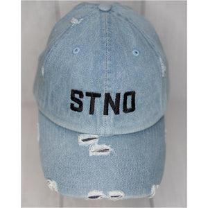 Distressed Dad Hat-Denim/Black
