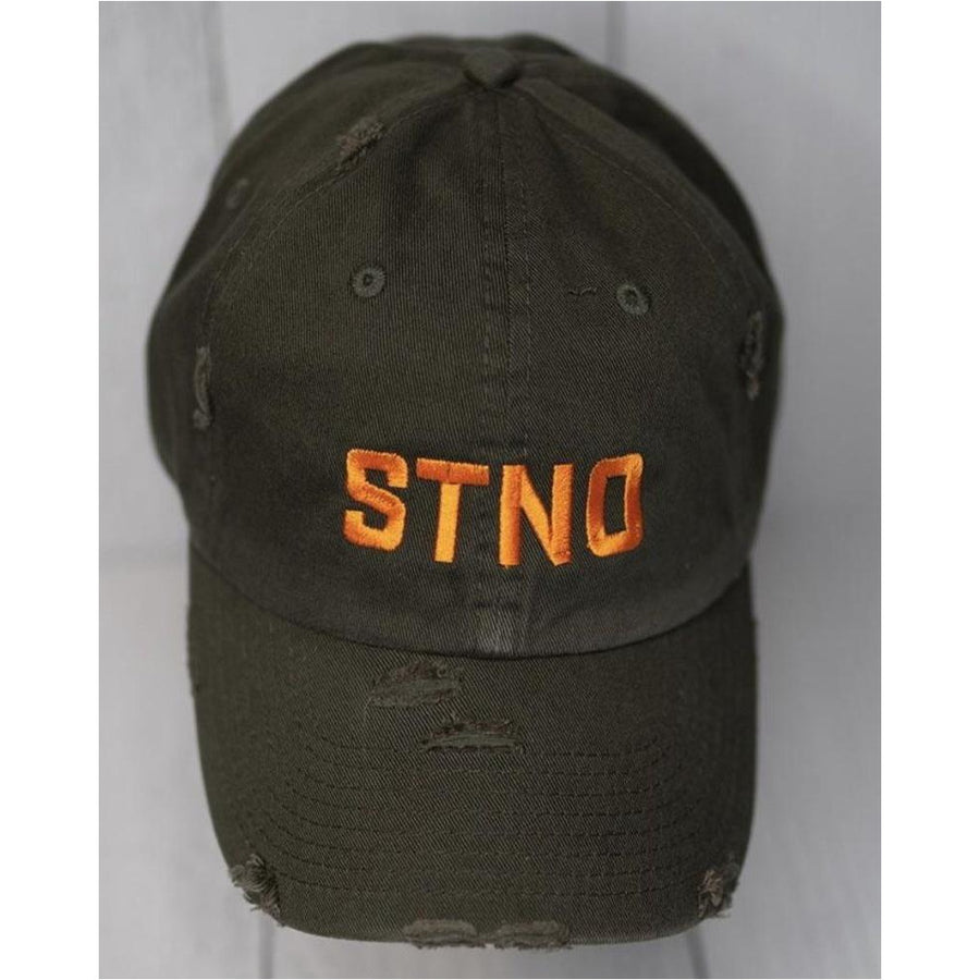 Distressed Dad Hat-Olive/Orange
