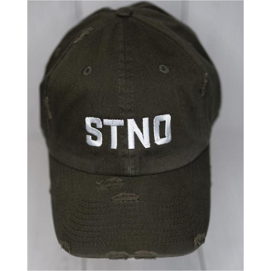 Distressed Dad Hat-Olive/White