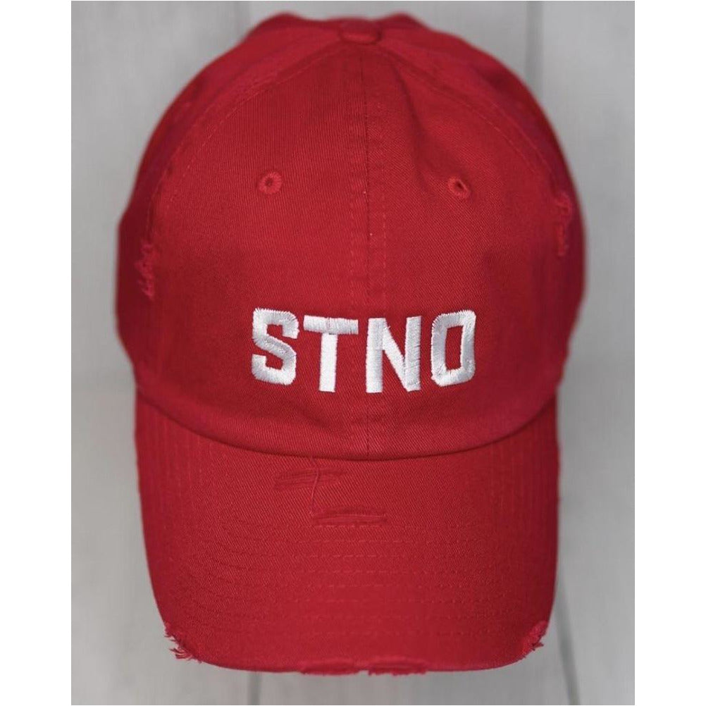 Distressed Dad Hat-Red/White