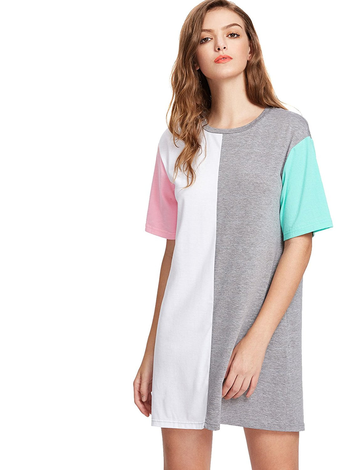ddf9e2db3ed57 ... Romwe Women's Color Block Cut and Sew Round Neck Tee Shirt Short Dress  - The Speech ...