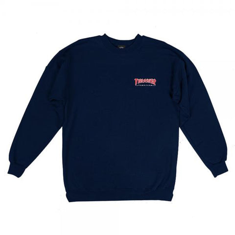 Embroidered Outline Crewneck - Navy