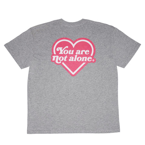 You Are Not Alone Heart Logo Oversized Tee - Heather Grey