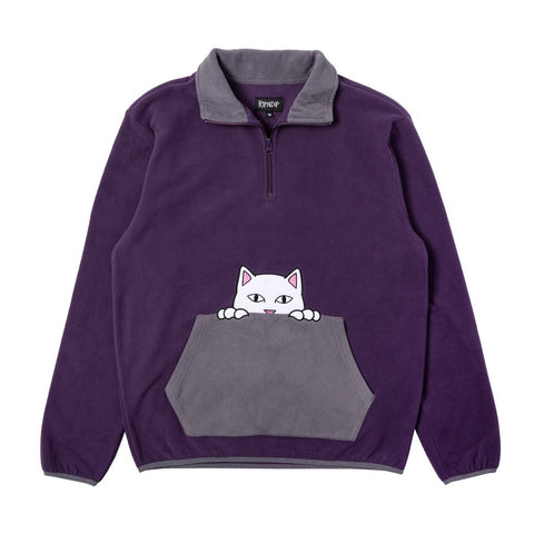 Peeking Nerm Brush Fleece Half Zip Sweater Purple