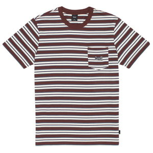 JETT STRIPE S/S KNIT TOP - DEEP MAHOGANY