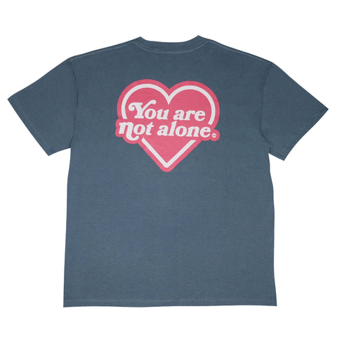 You Are Not Alone Heart Logo Oversized Tee - Slate