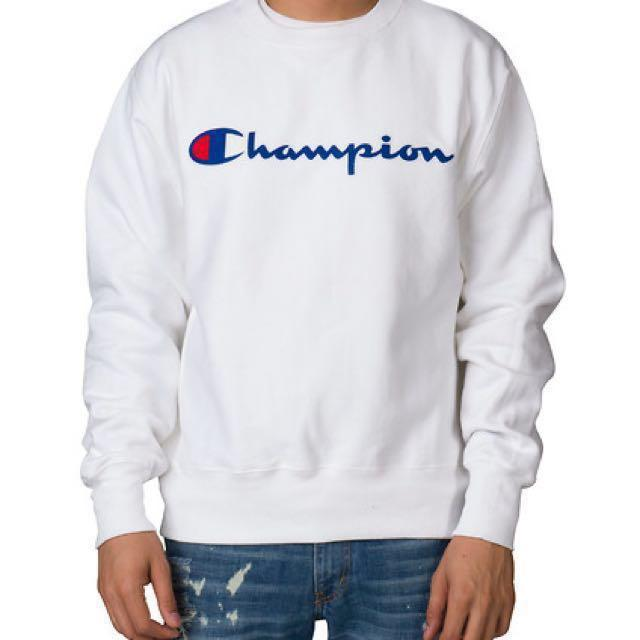 Champion Chain Stitch Script Sweatshirt - White