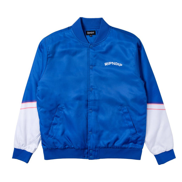 Show Biz Poly Varsity Jacket Dark Blue