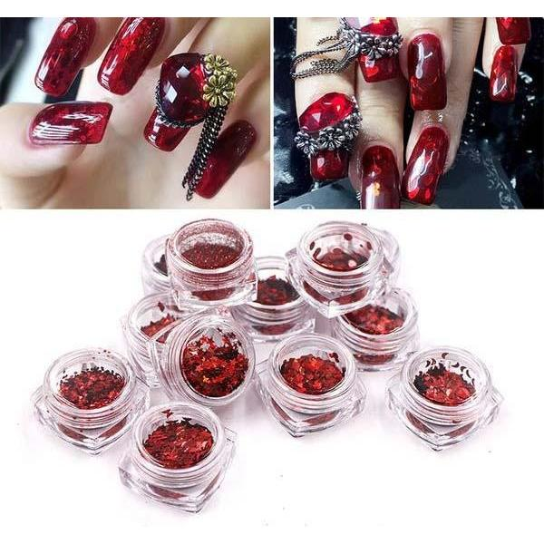 Nail Smash Ruby Red Holographic Dust Manicure Powder - 1 Kit - 12 ...