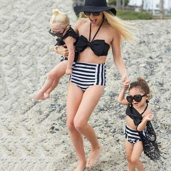 d9c43ada6194c ... Swimwear - Mini   Me Collection - Black   White Retro Highwaist ...