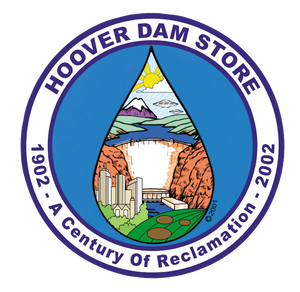 Logo showing tear drop purple outline in a circle with Hoover Dam Store on top 1902- A Century of Reclamation-2002 in circle around tear drop that shows crop circles, and alien city at Hoover Dam