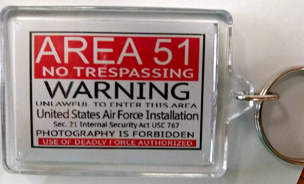 Area 51 Warning Sign Keychain
